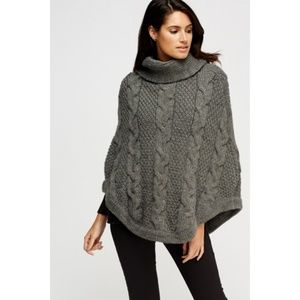 Cable Knit Gray Poncho Warm Cowl Neck